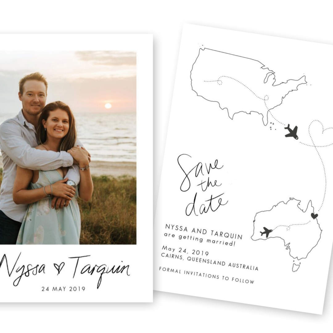 Square destination wedding save the date ideas for the love of stationery