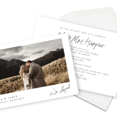 Thumb elopement announcement wording cards for the love of stationery
